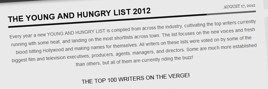 The Young & Hungry Writers List – 2012